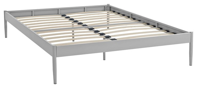 Modern Contemporary Urban Queen Size Platform Bed Frame, Gray Gray, Metal Steel.