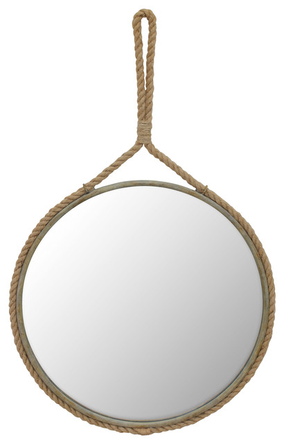 Suspended Round Mirror With Rope Handle.