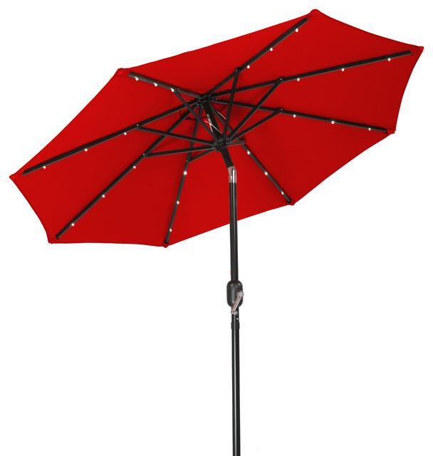 7&x27; Solar Led Patio Umbrella Red.