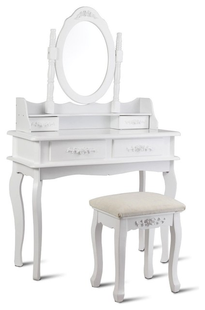 Modern Mirror Jewelry Storage Makeup Dressing Table Vanity Set