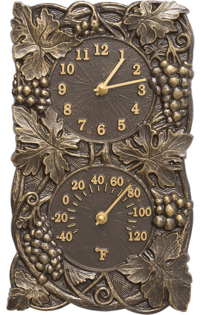 Grapevine Outdoor Clock And Thermometer French Bronze