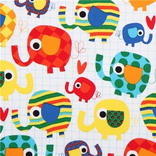 White children elephant animal fabric timeless treasures for Childrens animal fabric