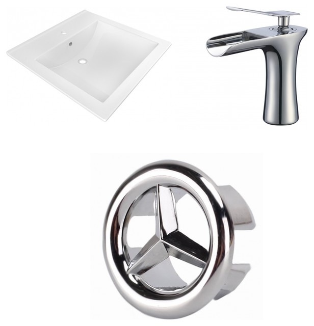 1-Hole Ceramic Top Set, Cupc Faucet Included, White, 21.5.