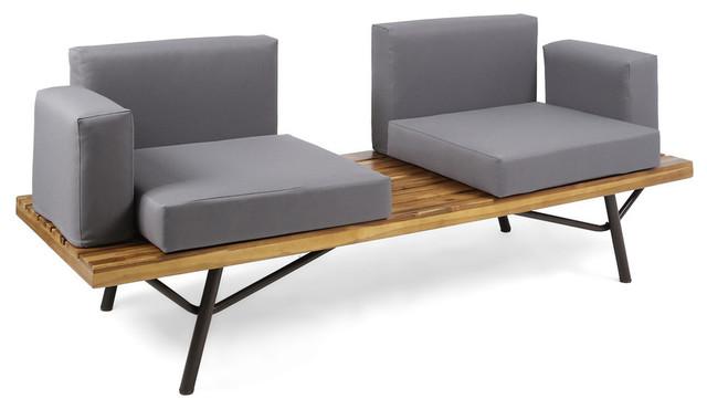 Stupendous Gdf Studio Baish Outdoor Acacia Wood 2 Seater Sofa Teak Finish Dark Gray Spiritservingveterans Wood Chair Design Ideas Spiritservingveteransorg