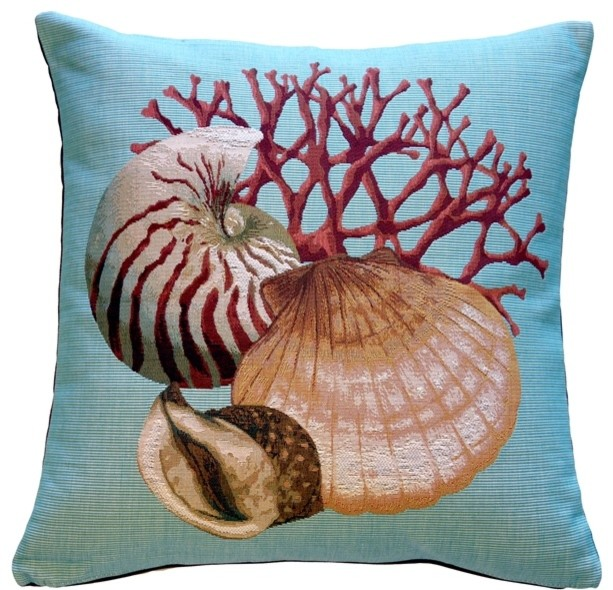 Pillow Decor Coral And Shells Nautical Throw Pillow Beach Style Awesome Seashell Pillows Decorative