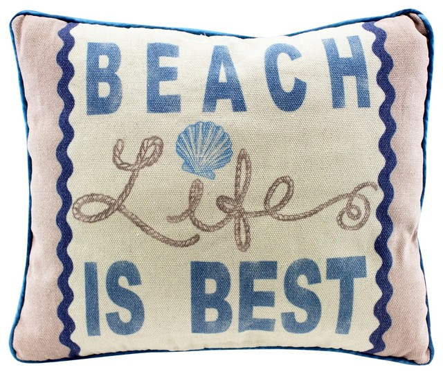 Beach Life Is Best 13 Natural Fabric Decorative Throw Pillow Style Pillows By Mary B Art