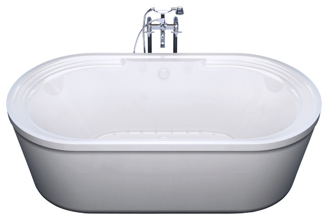 "Venzi Padre 34""x67"" Oval Freestanding Air Jetted Bathtub, Center Drain Placement."