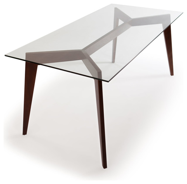 Deco Blaze Midcentury Modern Dining Table, Walnut Legs And Glass Top  Midcentury Dining
