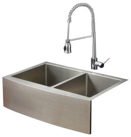 ruvati rvc2446 stainless steel kitchen sink and chrome faucet set contemporary kitchen sinks - Kitchen Sink And Faucet Sets