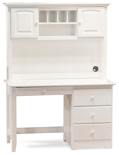 Windsor Wood Computer Desk With Hutch Set In White