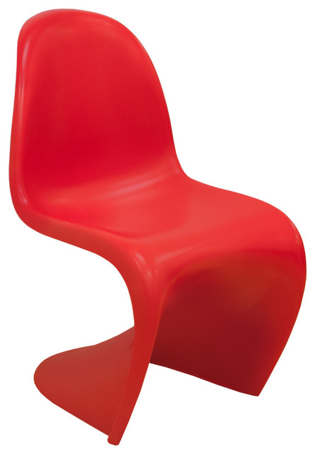 EZ Mod Panton Style S Chair, Red/Matte Contemporary Dining Chairs