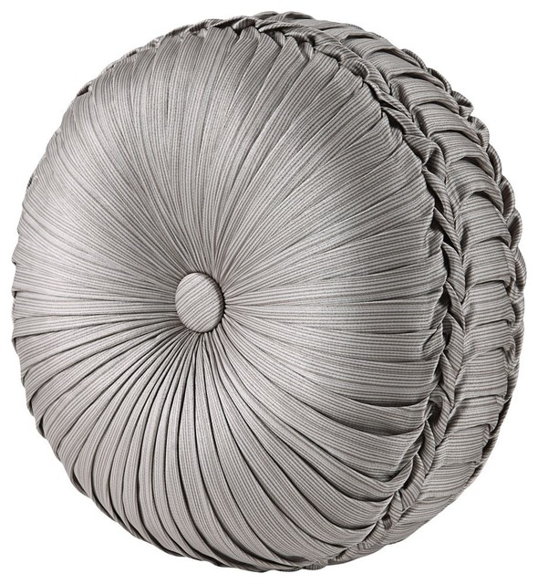 """Carly Tufted Round Pillow, Silver, 15""""x4""""."""