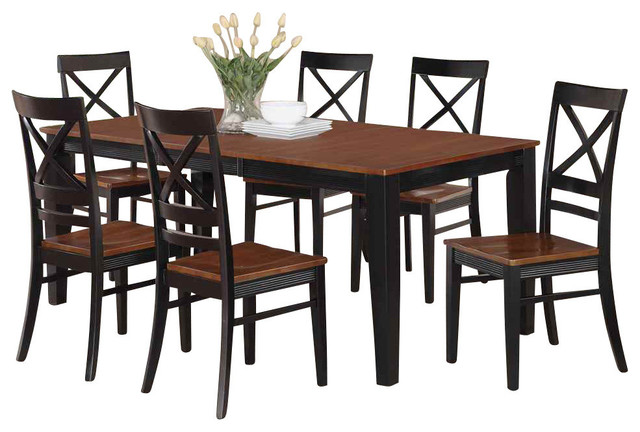 east west furniture 7 piece dining set black and cherry finish reviews houzz. Black Bedroom Furniture Sets. Home Design Ideas