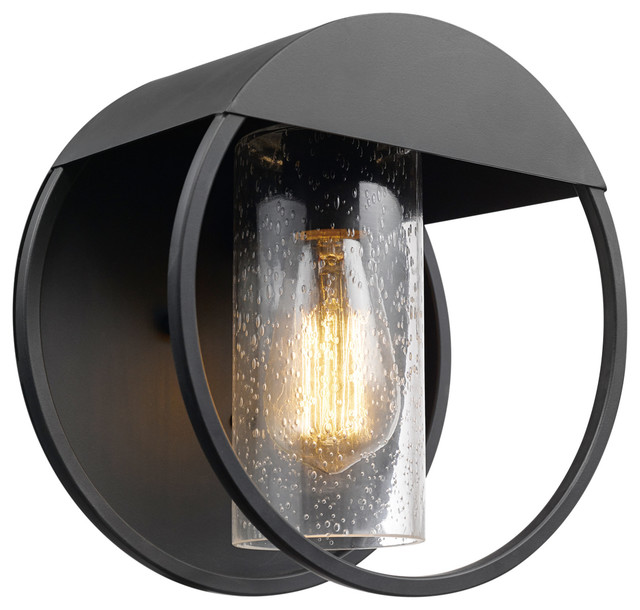 Neruda Black Outdoor Indoor Wall Sconce, Seeded Glass Shade