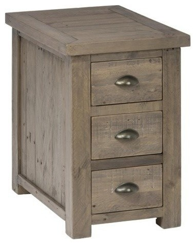 Jofran Reclaimed Pine Side Table With 3 Drawers and Shelf
