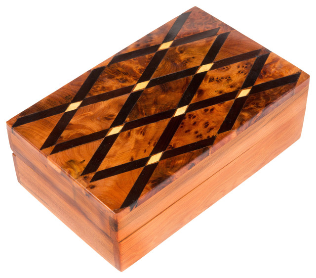 Moroccan Buzz - Inlaid Cross-Hatch Box, Moroccan Thuya Wood & Reviews | Houzz