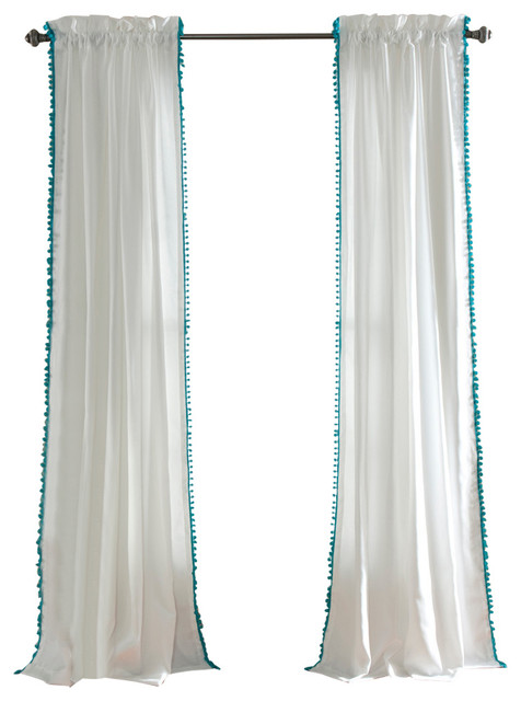 Pom Pom Window Curtain Single Panel, Aqua.
