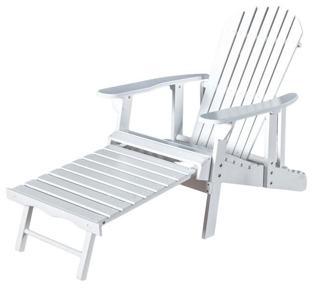 GDF Studio Katherine Outdoor Reclining Wood Adirondack Chairs, White, Set  Of 2