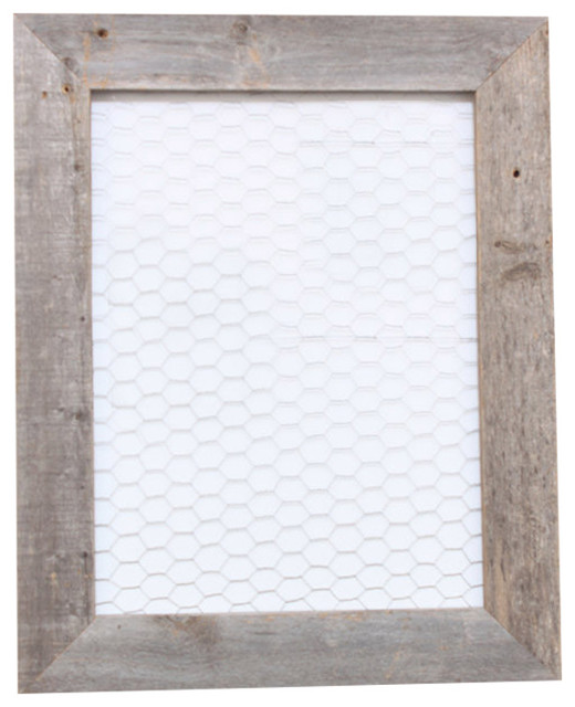 Bixby Reclaimed Rustic Barn Wood And Chicken Wire Photo Board.