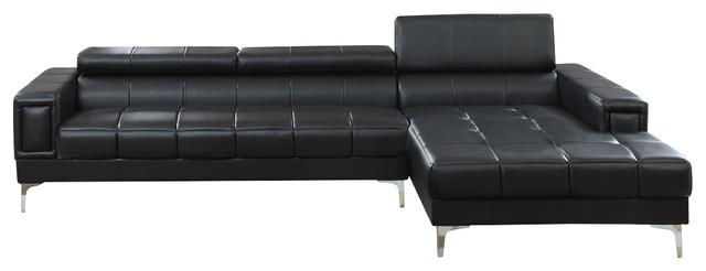 Exceptionnel Bobkona Hayden Bonded Leather Sectional With Adjustable Back, Black