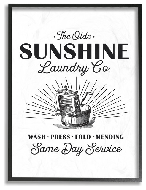 Olde Sunshine Laundry Co Vintage Sign, 11x14, Framed Giclee Texturized Art.