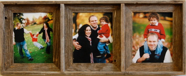 Collage Picture Frame Barn Wood Triple Frame 8x10 Rustic
