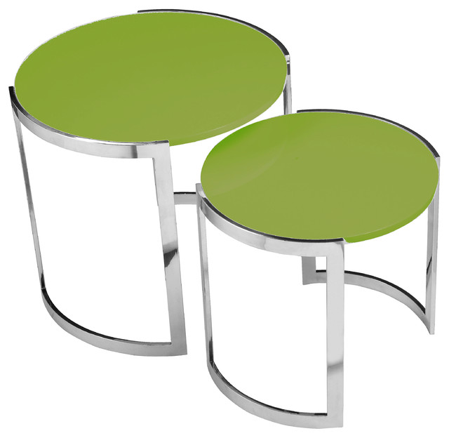 omni nesting side tables 2piece set green