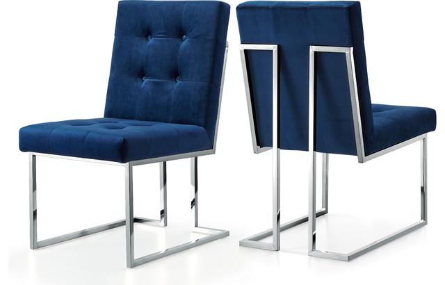 Alexis Velvet Dining Chair, Navy, Set of 2