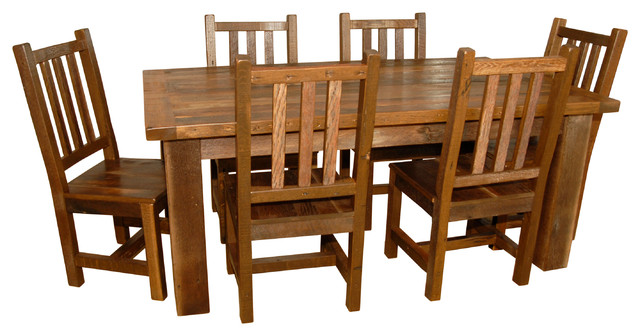 Rustic Barn Wood Dining Table With 6 Chairs