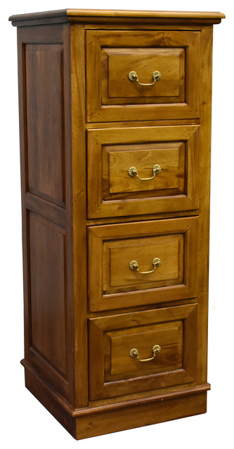 Legacy Solid Mahogany 4 Drawer File Cabinet Traditional Filing Cabinets By Crafters And Weavers