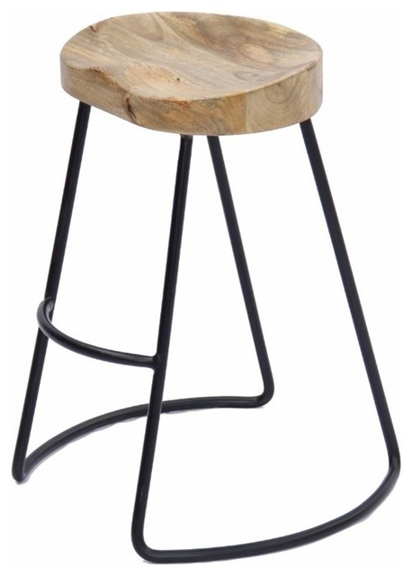 The Urban Port Brand Wooden Barstool With Iron Legs