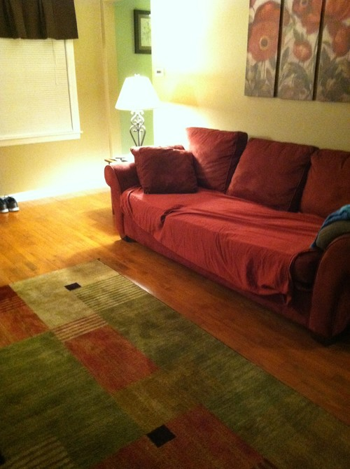 New Area Rug And A Maroon Couch Help