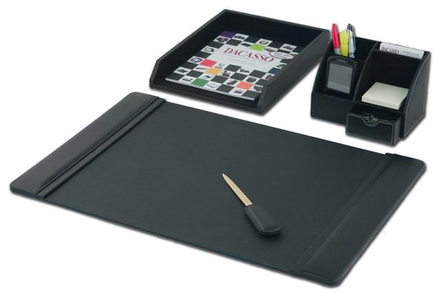 Black leather 4 piece desktop organizer desk set modern - Modern desk accessories and organizers ...