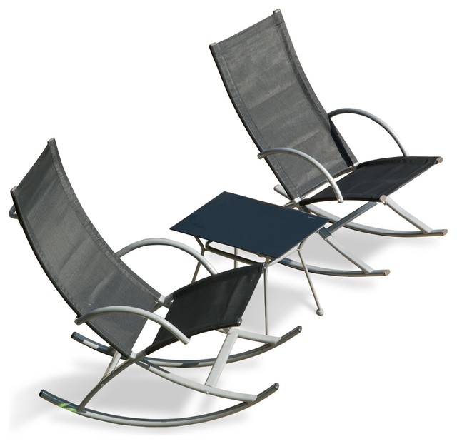 3 rocking chairs and table set contemporary outdoor rocking chairs by suntime
