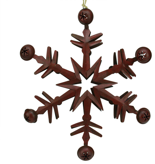 country cabin 6 point red metal christmas star ornament with jingle bells 115 - Metal Christmas Ornaments