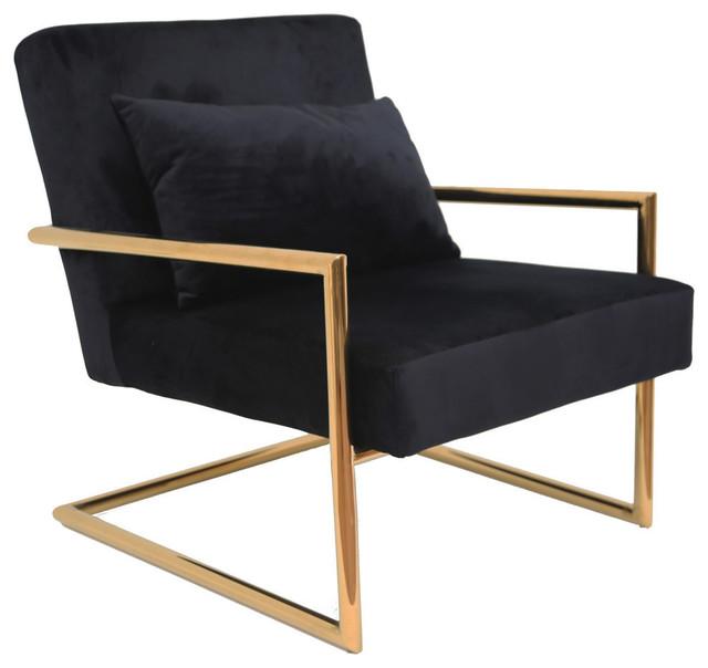 Sagebrook Home Metal/Velveteen Arm Chair W/Pillow, Black/Gold