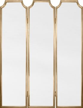 Tri Fold Wall Mirror gold leaf tri-fold mirrored screen