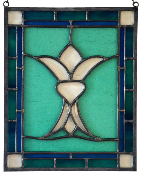 Stained Glass Hanging Window Panel Of A Stylized Fleur De Lis