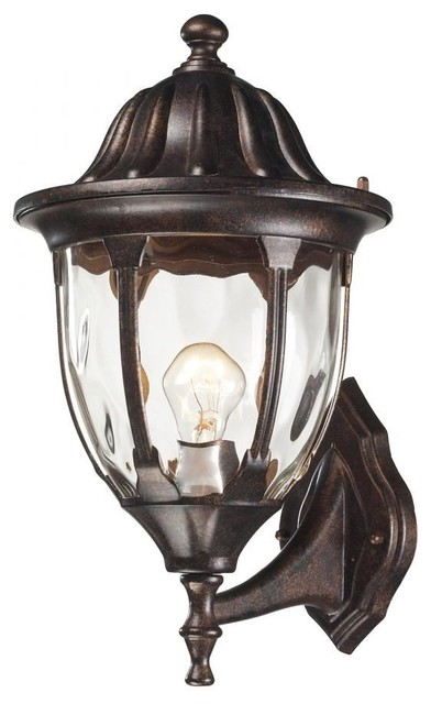Elk Lighting Glendale 1 Light Outdoor Wall Sconce, Regal Bronze  Traditional Outdoor