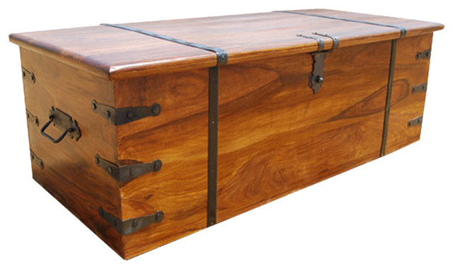 Kokanee large solid wood storage trunk coffee table chest traditional decorative trunks by Coffee table chest with storage