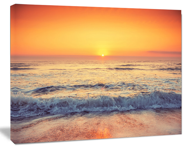 Yellow Cloudscape over Seashore, Large Beach Canvas Wall Art - Beach ...