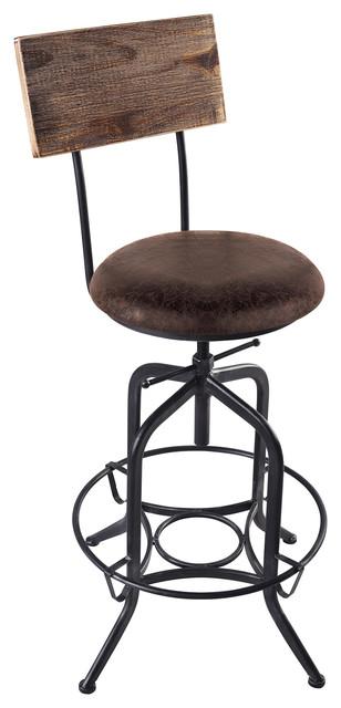 Damian Bar Stool, Adjustable, Industrial Gray, Brown