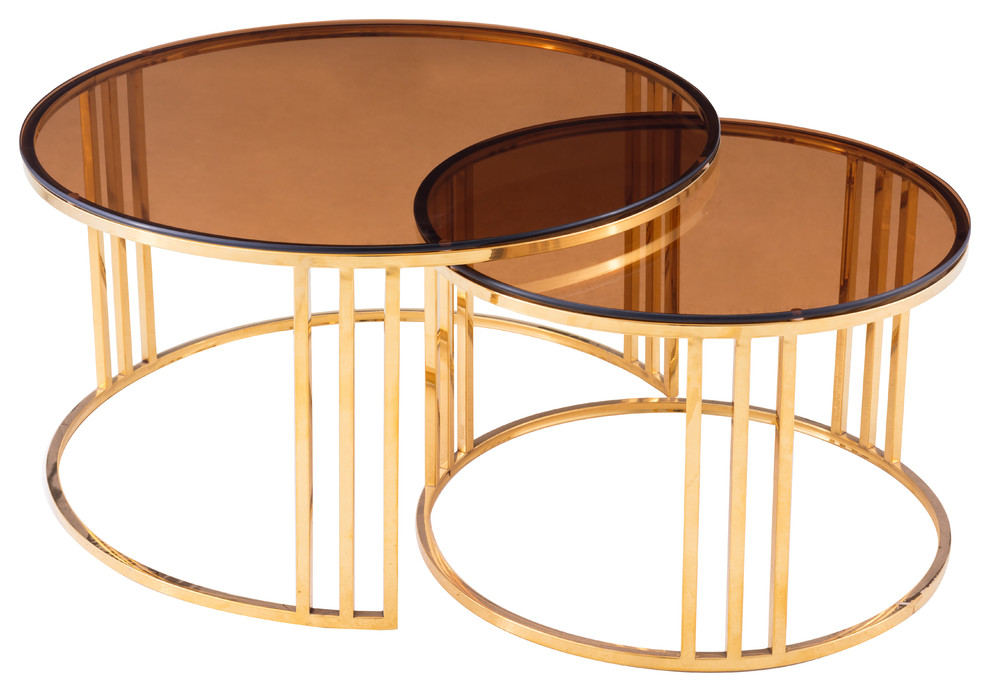 Modrest Alondra Modern Gold Coffee Table And End Table Set