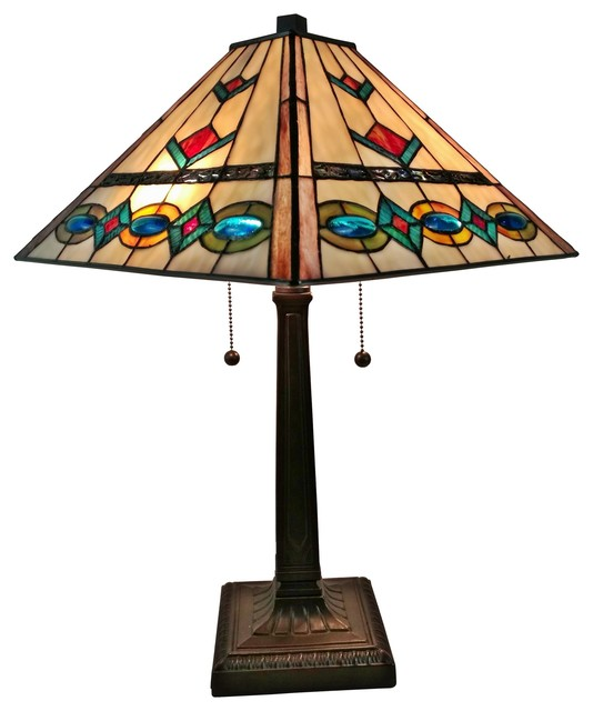 Amora Lighting Tiffany Style Multi Color Mission Table Lamp, 22.