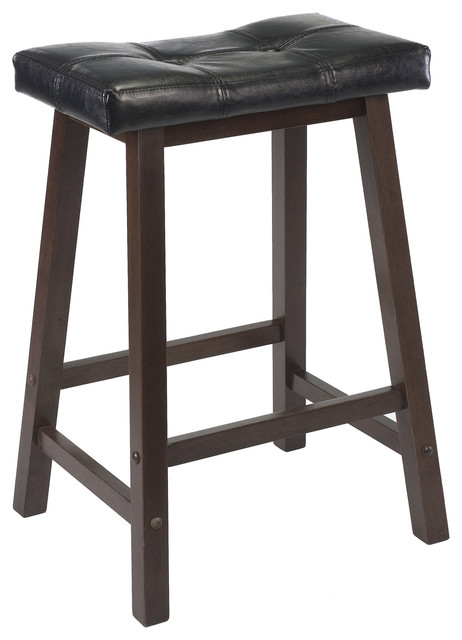 Mona Cushion Saddle Seat Stool Black Faux Leather Wood Legs Rta