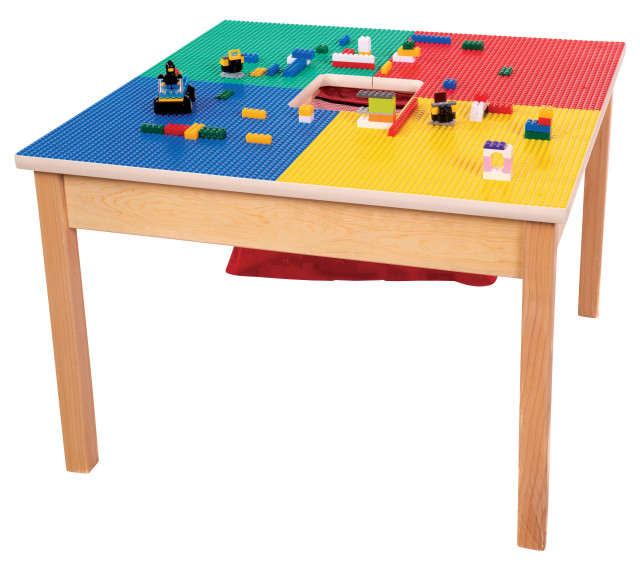 Lego Compatible Play Table With Storage, Wooden Lego Table With 3 Chairs