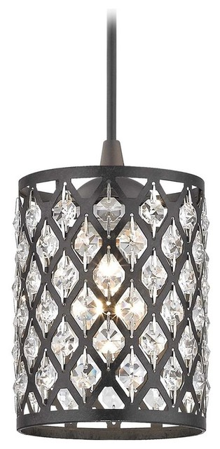 Crystal Bronze And Phoenix Cord Hung Mini-Pendant Light.