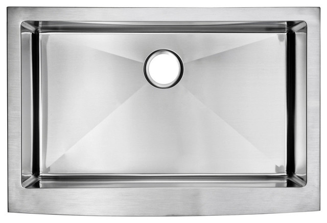 33   x 22   small radius single bowl stainless steel apron front kitchen sink modern water creation   33   x 22   single basin stainless steel kitchen      rh   houzz com