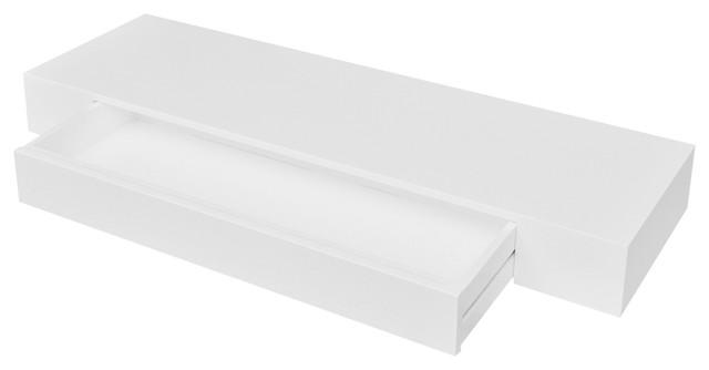 VidaXL White MDF Floating Wall Display Shelf 1-Drawer Book/DVD Storage