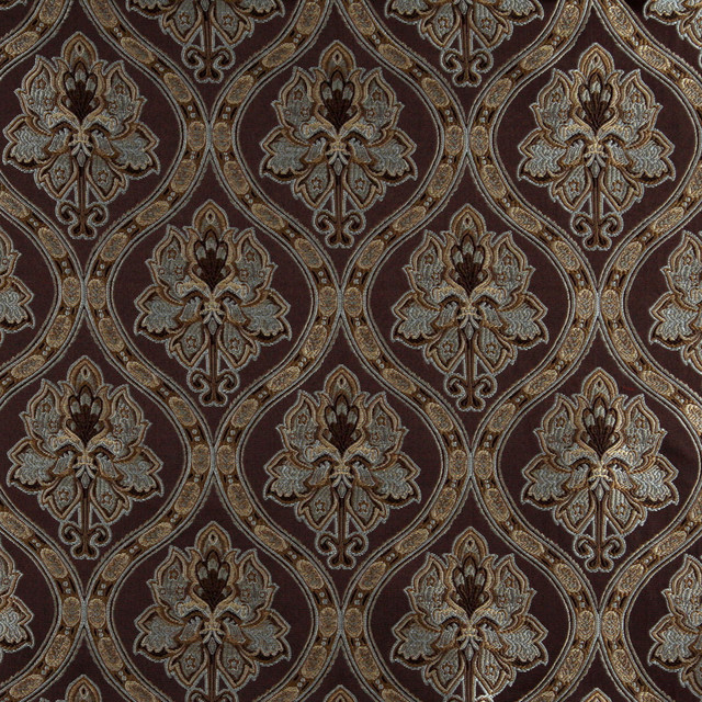 Brown Light Blue Gold Ivory Traditional Brocade Upholstery Fabric By ...